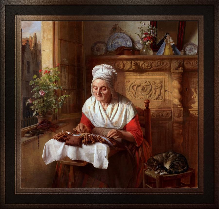 The Lace Maker by Josephus Laurentius Dyckmans Classical Fine Art Xzendor7 Old Masters Reproductions  Print
