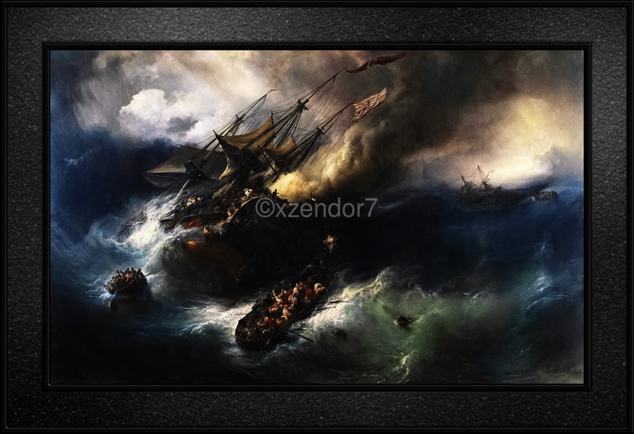 The Loss Of The Indiaman Kent by Theodore Gudin Classical Fine Art Xzendor7 Old Masters Reproductions  Print