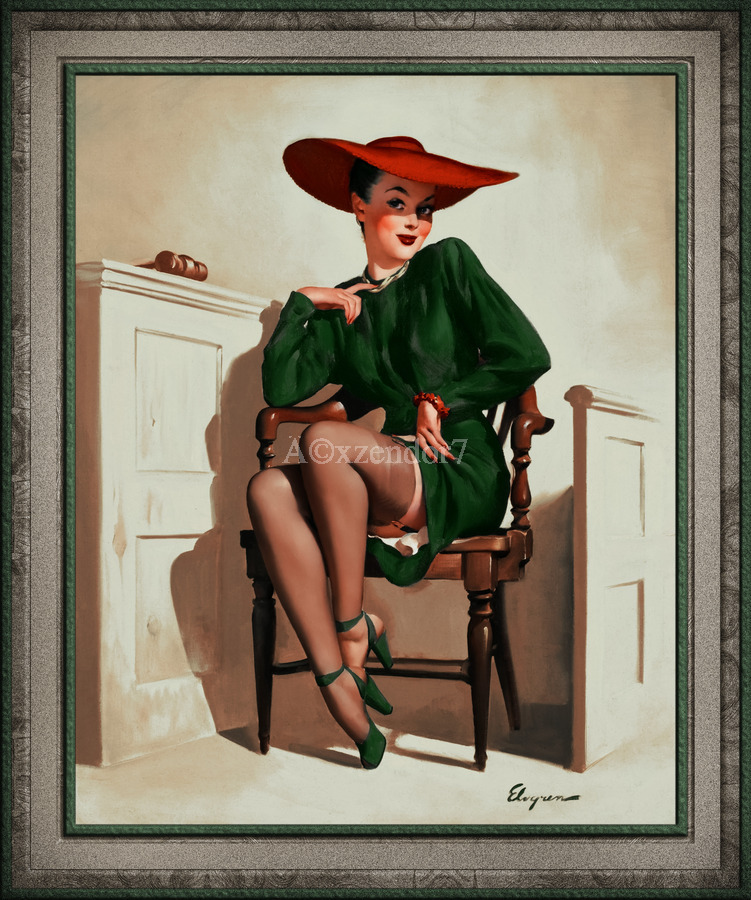The Verdict Was by Gil Elvgren Vintage Pinup Illustration Xzendor7 Old Masters Reproductions  Print