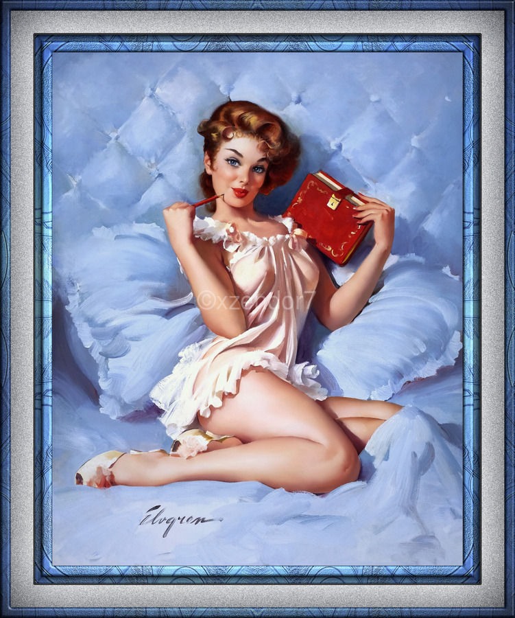 Thinking Of You by Gil Elvgren Vintage Illustrations Xzendor7 Old Masters Reproductions  Print