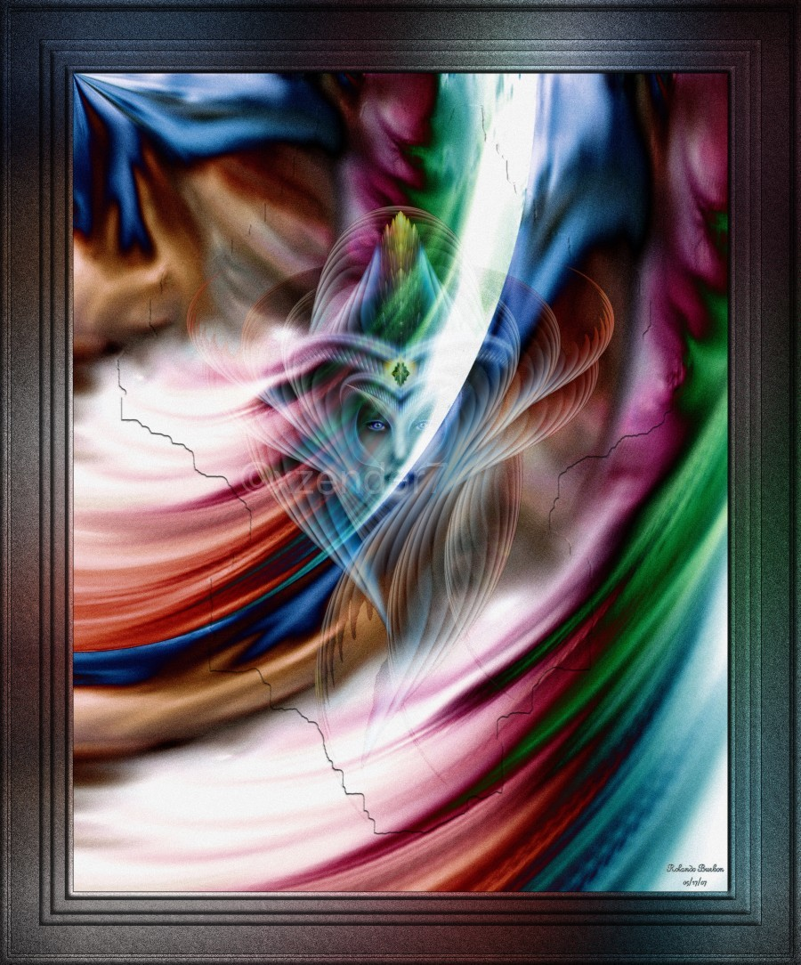 Whispers In A Dreams Of Beauty Fractal Abstract Portrait Art  Print