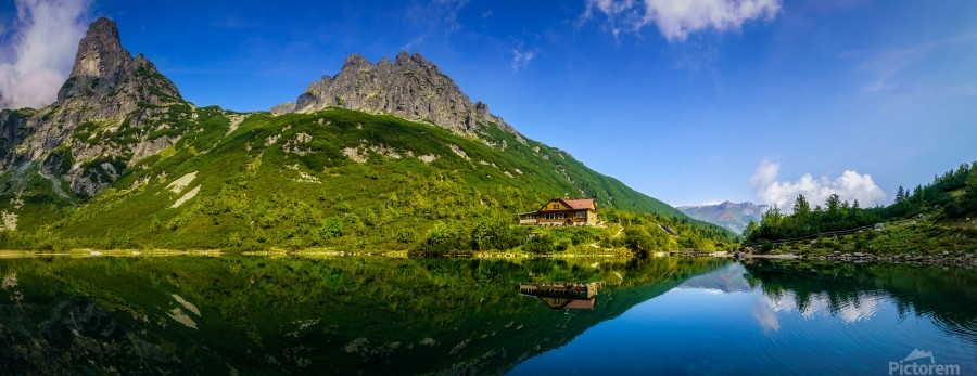 Mountain cottage at the Zelene pleso  Print