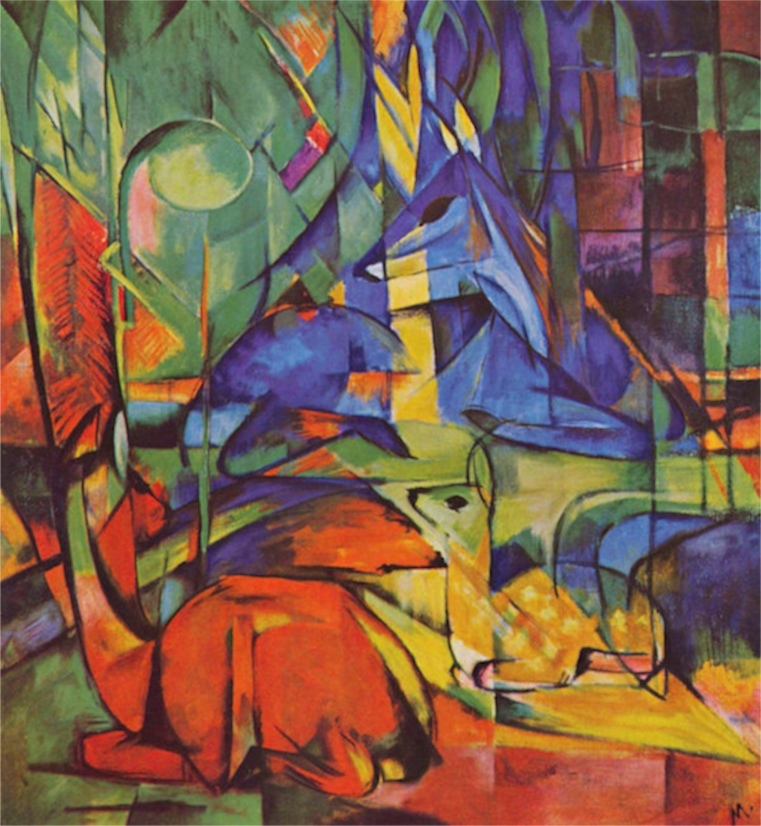 Deer in Forest by Franz Marc  Print