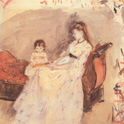 Edma, the sister of the artist with her daughter by Morisot  Print