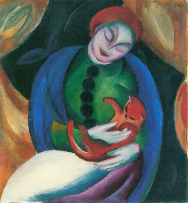 Girl with a Cat II by Franz Marc  Print