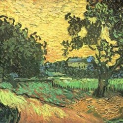 Landscape with Castle Auvers at Sunset by Van Gogh  Print