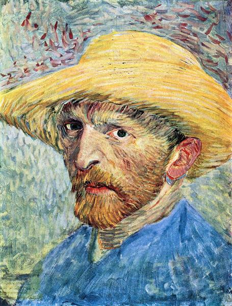 Self-portrait, with straw hat and blue shirt by Van Gogh  Print