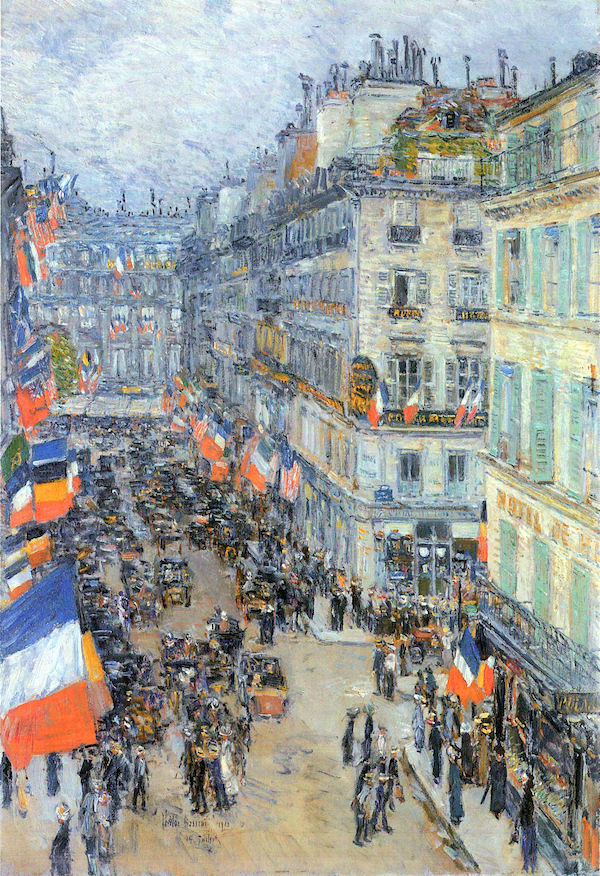 The 14th July, Rue Daunou by Hassam  Print