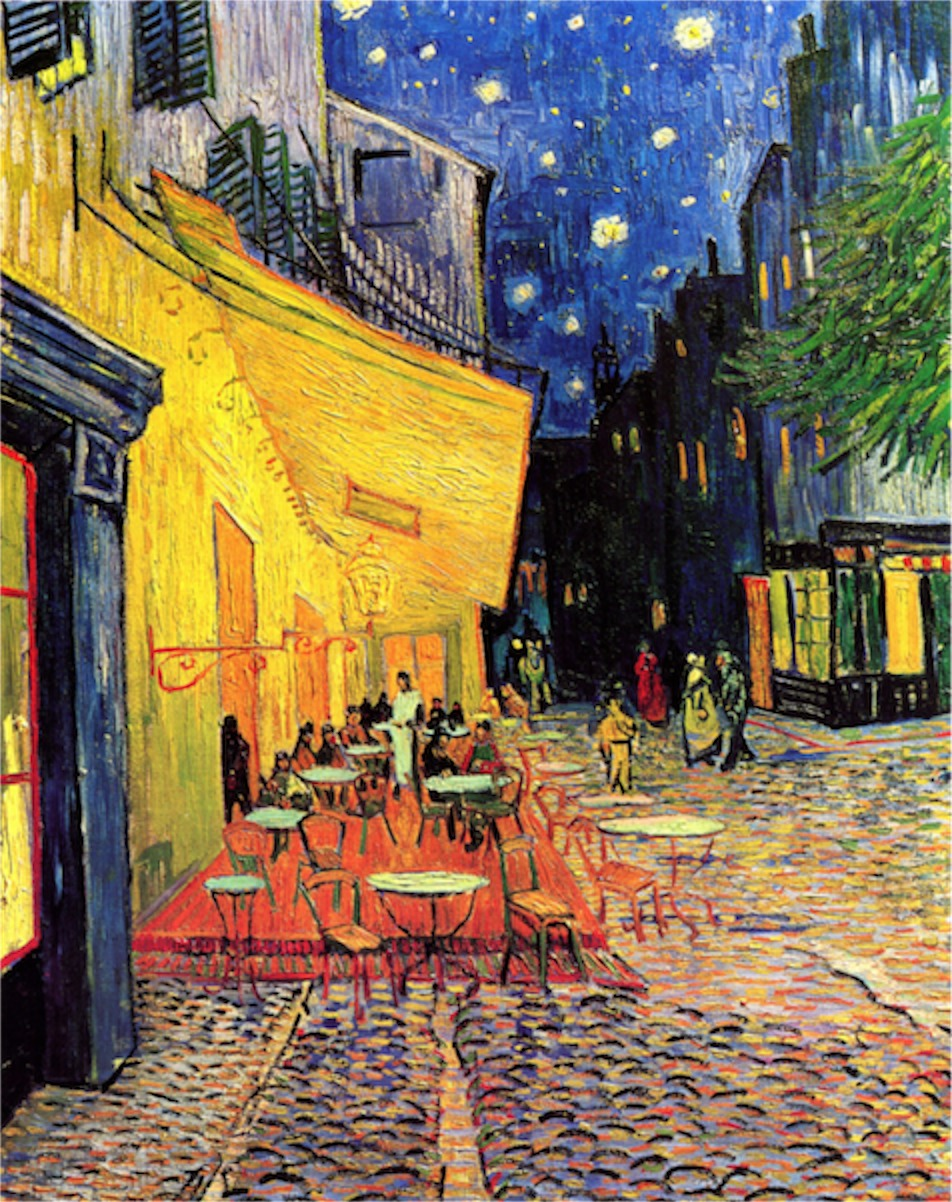 The Cafe Terrace on the Place du Forum Arles at Night by Van Gogh  Print