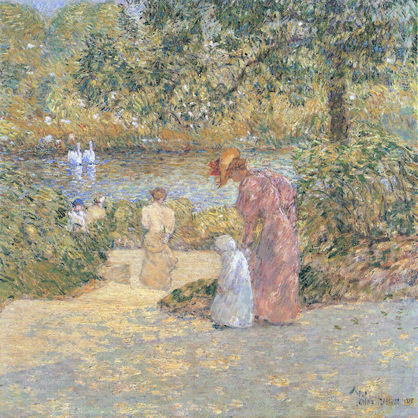 The staircase at Central Park by Hassam  Print