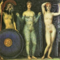 The three Goddesses Athena, Hera and Aphrodite by Franz von Stuck  Print