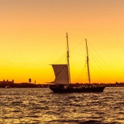 Sunset over the NY harbor