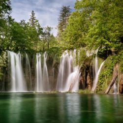 Idyllic Waterfall at Plitvice Lakes