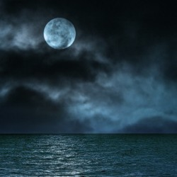 Cloudy Moon Shore at Night