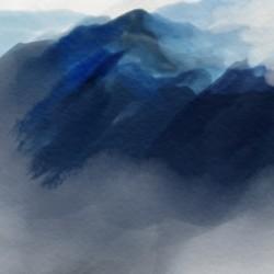 Watercolor Mountains Range Landscape