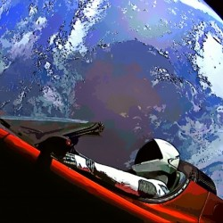 StarMan in Tesla Above Planet Earth