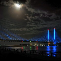 Supermoon Over the Indian River Inlet Bridge