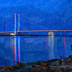 Full Moon Rising Under the Indian River Bridge Painterly