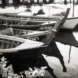 Thai Boats in Black and White