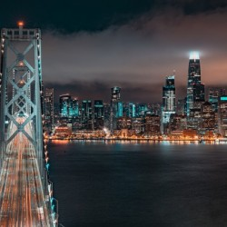San Francisco Skyline at Night With The Bay Bridge
