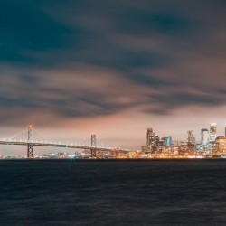 Cloudy San Francisco Night Skyline