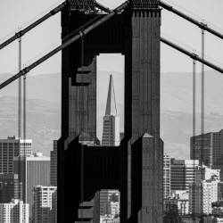 Threading the Needle - Golden Gate Bridge in Black and White