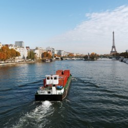 Barge on Seine river