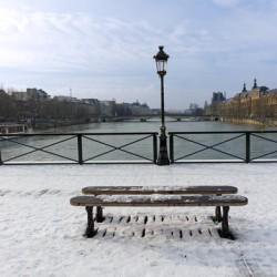Snow on the Pont des Arts bridge