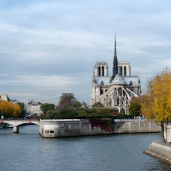 Notre-Dame cathedral in autumn season