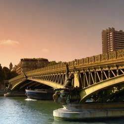 Barge under the Mirabeau bridge