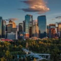 Calgary Downtown Four Bridges Sunset