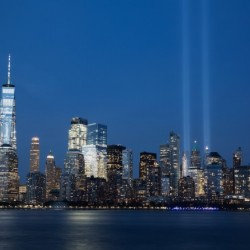 911 Memorial Lights NYC skyline