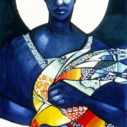 Blue Woman with a bird