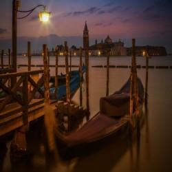 VENICE Gondolas during Blue Hour