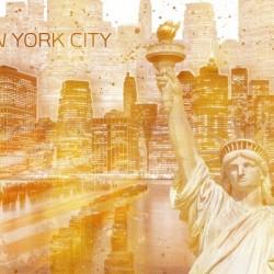 Graphic Art MANHATTAN Collage | golden