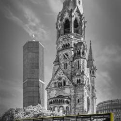 BERLIN Kaiser Wilhelm Memorial Church with bus | colorkey