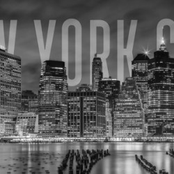 NEW YORK CITY Skyline | Monochrome Panorama