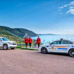 RCMP at ease with cruisers at French Mountain Monument