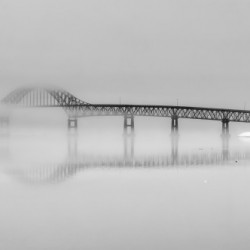 Seal Island Bridge in fog