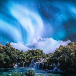 Aurora Polaris Over The Waterfall