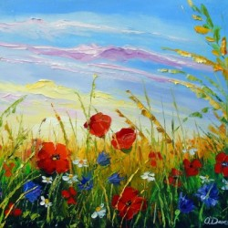 Summer flowers in the oil painting field
