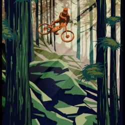 My Therapy retro Mountain biking art