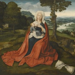 Virgin and Child in beautiful landscape