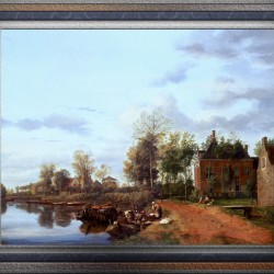 A Country House on the Vliet near Delft by Jan van der Heyden Classical Fine Art Xzendor7 Old Masters Reproductions