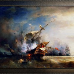 Battle of Cape Lizard in 1707 by Jean Antoine Theodore Gudin Classical Fine Art Xzendor7 Old Masters Reproductions