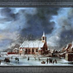 Gezicht op de Kerk te Sloten in de Winter by Jan Abrahamsz Beerstraaten Classical Fine Art Xzendor7 Old Masters Reproductions