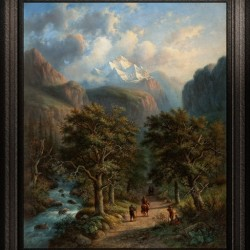Landscape In The High Mountains by Alexander Joseph Daiwaille Classical Fine Art Xzendor7 Old Masters Reproductions