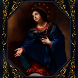 Madonna in Glory by Carlo Dolci Blue Gold Border Xzendor7 Old Master Art Reproductions