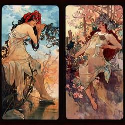 Seasons by Alphonse Mucha Art Nouveau Xzendor7 Old Masters Art Reproductions