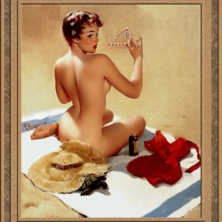 Shell Game c1959 by Gil Elvgren Vintage Pinup Illustration Xzendor7 Old Masters Reproductions